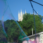 Bubbles framed by Guelph's Basilica